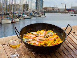 A dish of paella and a glass of wine on a table overlooking the harbor in Barcelona Spain