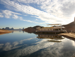 A houseboat docked on Lake Mead, Nevada