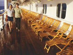 Young Couple Walking on Cruise Ship Deck
