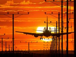 Plane landing at LAX