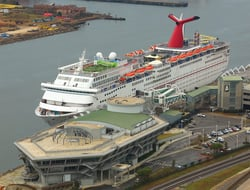 The Carnival Fantasy docked in Mobile, AL