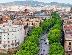 Aerial view of Las Ramblas in Barcelona