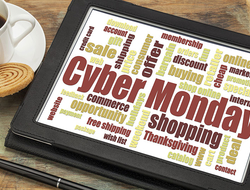 Cyber Monday words on a tablet