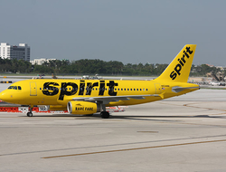 Spirit Airlines A319 on a runway
