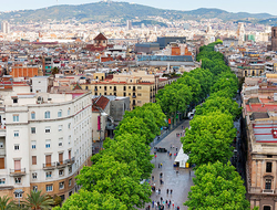 Aerial view of Las Ramblas in Barcelona