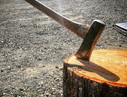 Axe and chopping block