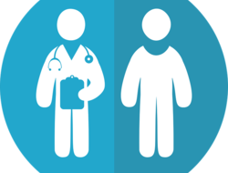 Graphic of doctor and patient side by side