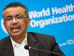 Tedros Adhanom Ghebreyesus, Director General of the World Health Organization (WHO), talks to the media at the World Health Organization headquarters in Geneva, Switzerland.