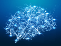 Digital X-ray brain on blue background neurons