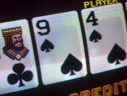 Closeup of video poker machine screen