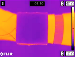 A wearable device developed by the University of California at San Diego has a surface that quickly cools down or heats up to match ambient temperatures, camouflaging the wearer's body heat. The wireless device can be embedded into fabric.