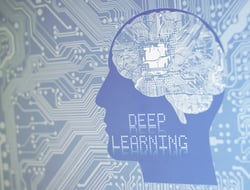 Deep learning concept with circuit brain board.