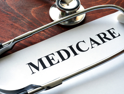Medicare written on paper with a stethoscope