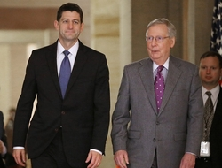 Speaker of the House Paul Ryan (L) and Senate Majority Leader Mitch McConnell (R)