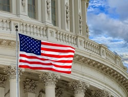 U.S. Capitol with flag