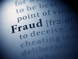 The word fraud framed by other words