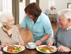 Caregiver wearing scrubs serving meal to senior man and woman at dining table