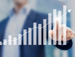 A bar chart showing positive business growth
