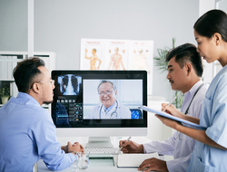 Doctors look at scan