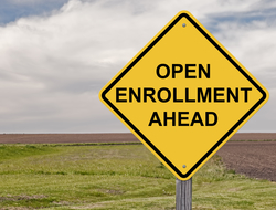 Open enrollment ahead sign
