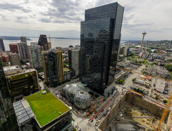 aerial photo of Amazon's headquarters