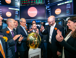 Phreesia CEO Chaim Indig rings the opening bell at the New York Stock Exchange July 18