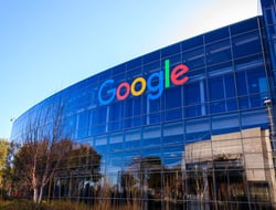 shows the physical exterior of Google's headquarters building