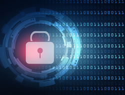 illustration of closed padlock on digital background representing cybersecurity