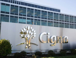 A sign at the front of Cigna's headquarters