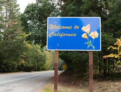A sign reading 'Welcome to California'