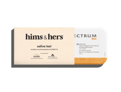 branded packaging with Hims & Hers logo for at-home COVID test