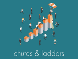 Graphic of workers with parachutes and ladders