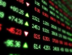 A closeup of a stock market ticker