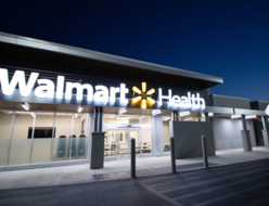 Walmart Health sign outside Walmart care clinic