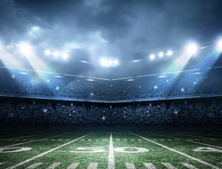 Football stadium lights and field