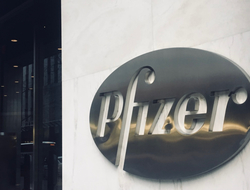 Pfizer  headquarters logo sign