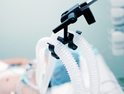 A patient in a hospital bed on a ventilator