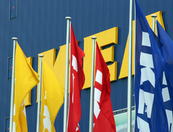 exterior of Ikea store with flags