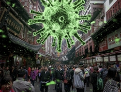 coronavirus over crowd of people
