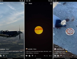 Three Instagram reels: a plane in flight, a moonrise, a bird eating pizza
