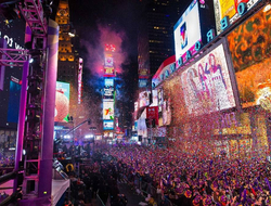 A view of Times Square on New Year's Eve