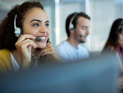 Woman on phone at call center