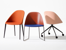 Cila  - which was inspired by a cape – is available in sled, trestle and four-leg base options.