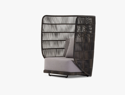 Cuff has a frame made of powder-coated stainless steel with a custom weave that is semi-transparent.