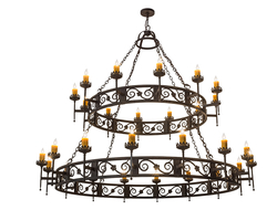 The chandelier has elaborate scroll accents with floral medallions and decorative bobeches, which embrace 28 amber faux candlelights.