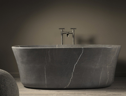 Stone Forest launched the Calma bathtub, which was carved from one monolithic block of stone.