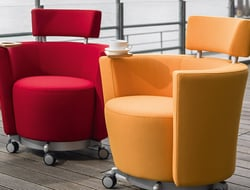 The chair has four casters, so that each chair can swivel and roll. It comes in a variety of styles.