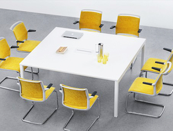 Each piece can be configured as an individual desk or as a bench solution with the capability of sharing components.