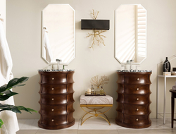 "Measuring 24.5"" (W) x 22"" (D) x 34.75"" (H), the vanity is available in two finishes (espresso and grey)."