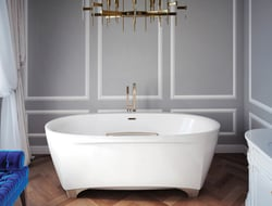 Inspired by a centuries-old Milan opera house, the tub is a contemporary version of the traditional clawfoot tub.